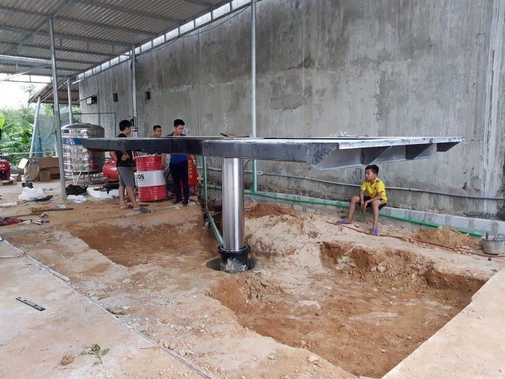 Kích thước cầu nâng 1 trụ rửa xe ô tô dựa trên bàn nâng